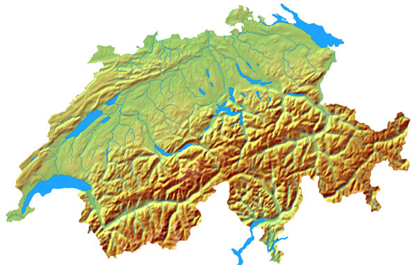 Detailed topographical map of Switzerland.
