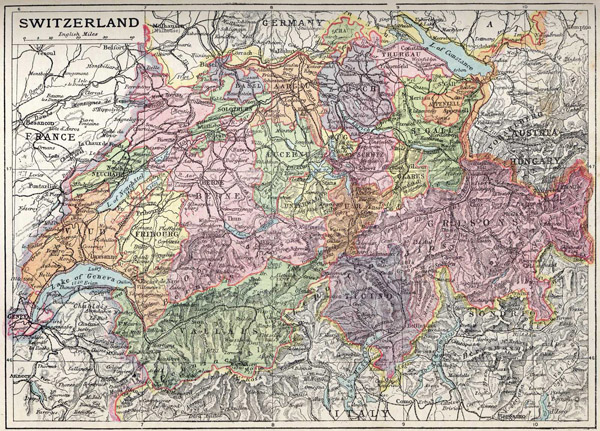 Large detailed old map of Switzerland 1906.