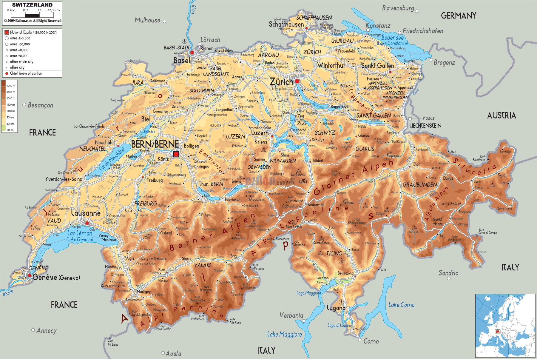 Large detailed physical map of Switzerland with all roads cities