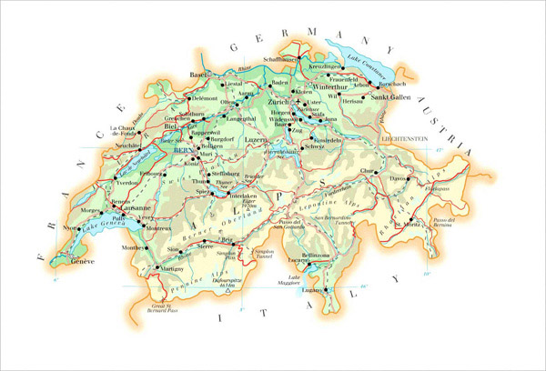 Large detailed physical map of Switzerland with roads, cities and airports.