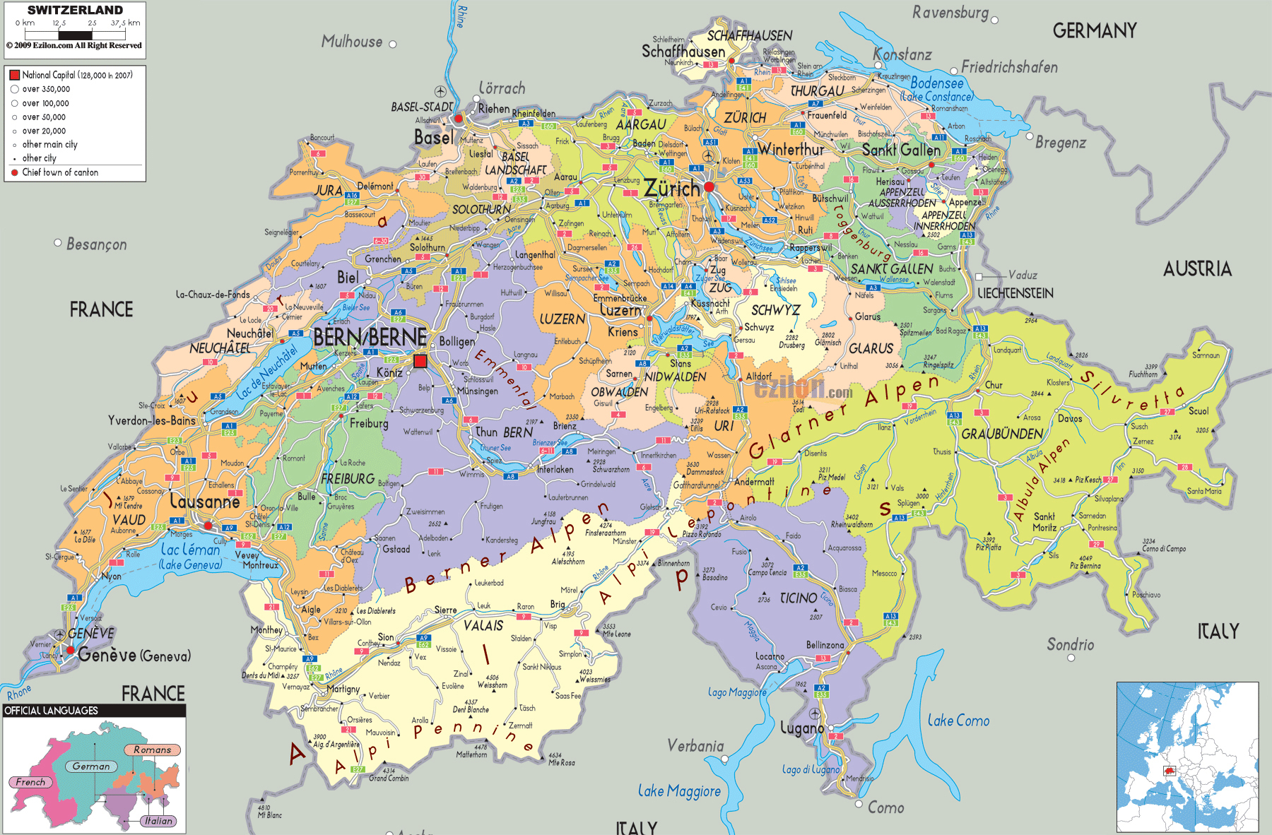 Large detailed political and administrative map of Switzerland with