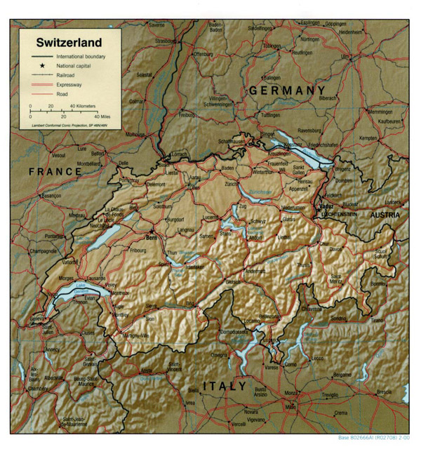 Large detailed political and relief map of Switzerland with cities, roads and railroads.