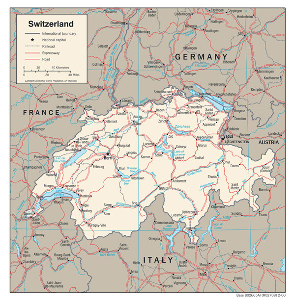 Large detailed political map of Switzerland.