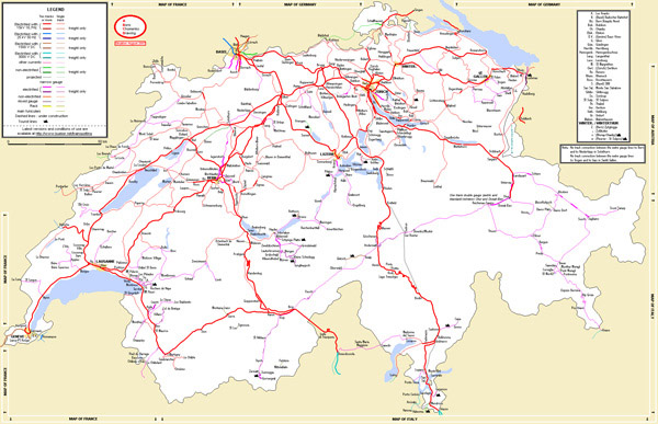 Large detailed rail network map of Switzerland with cities.