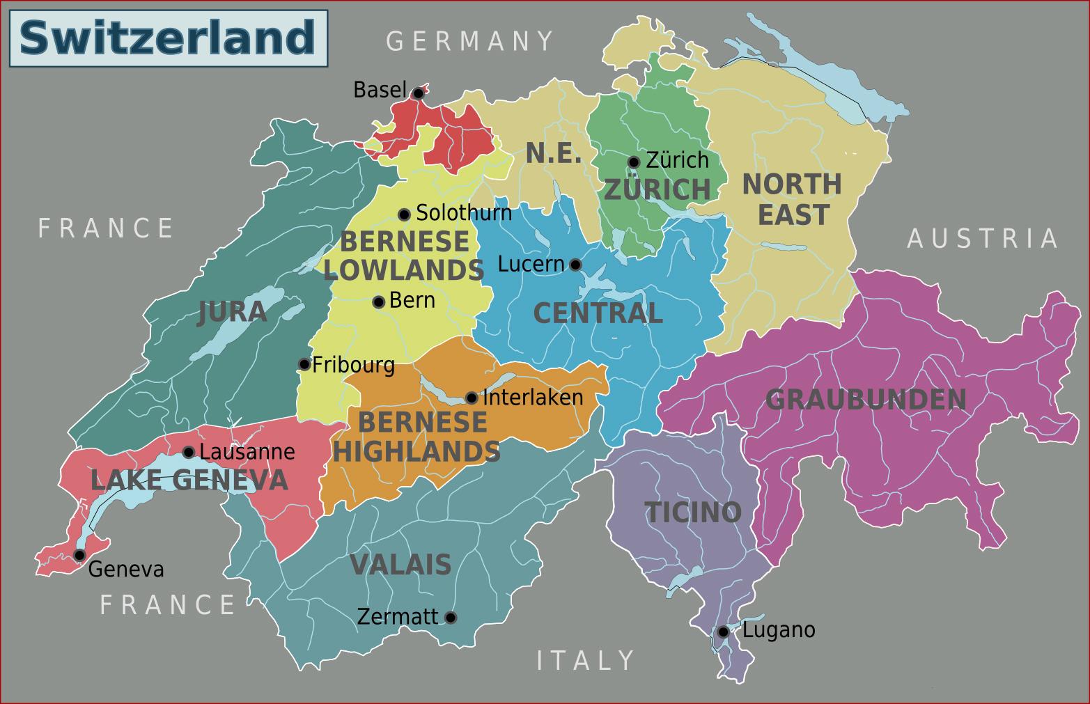 Large detailed regions map of Switzerland. Switzerland large ...