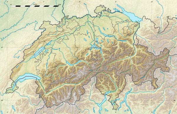 Large detailed relief map of Switzerland.