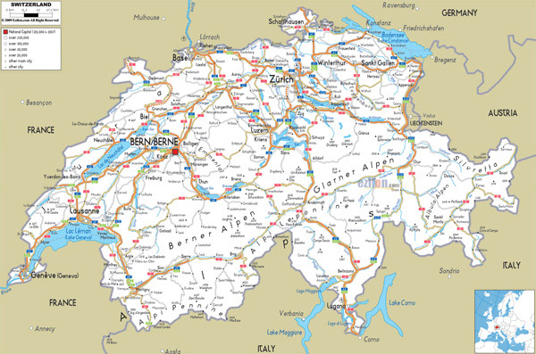 Large detailed road map of Switzerland with all cities and airports.