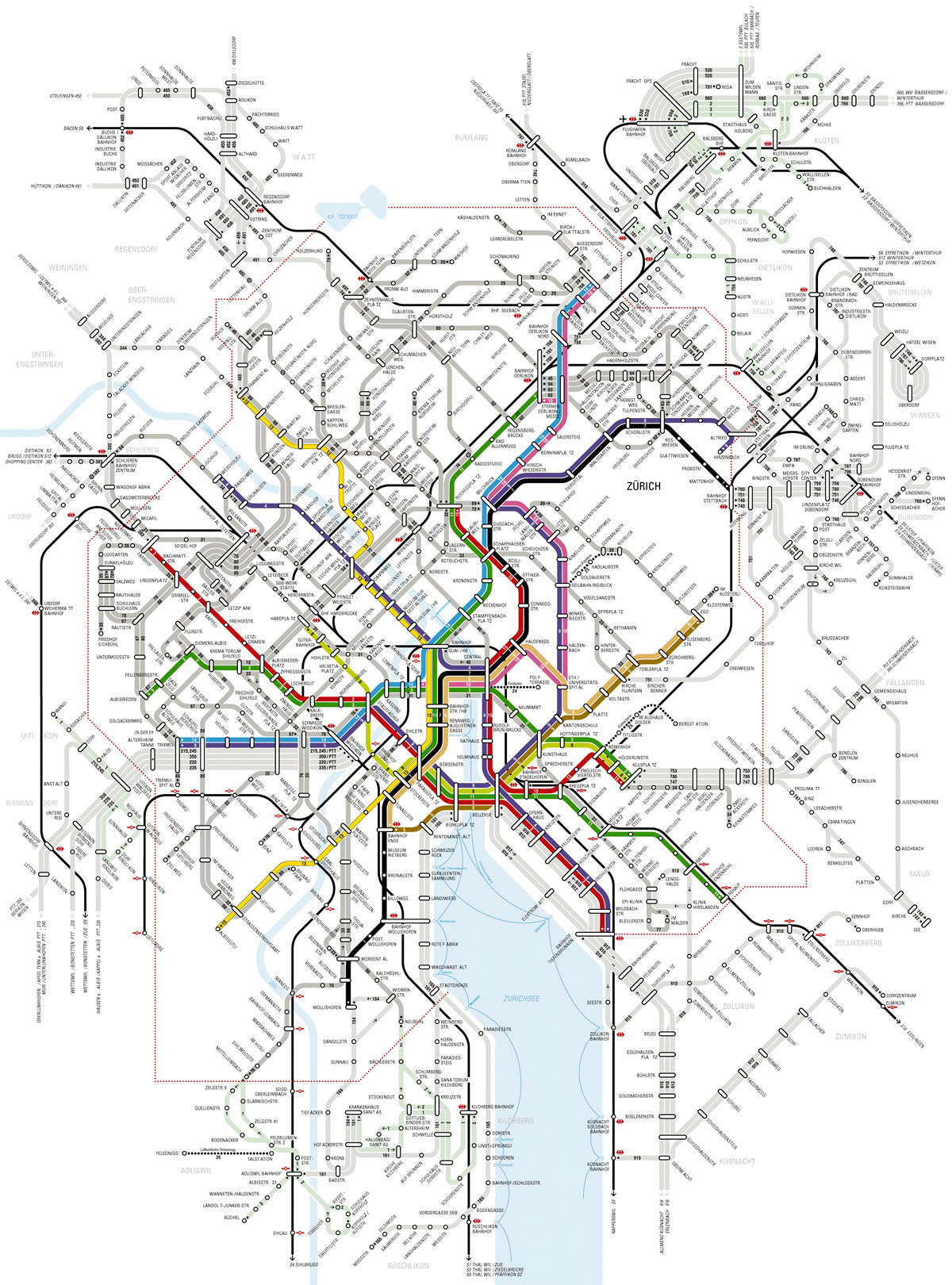 Large detailed metro map of Zurich city. Zurich city large