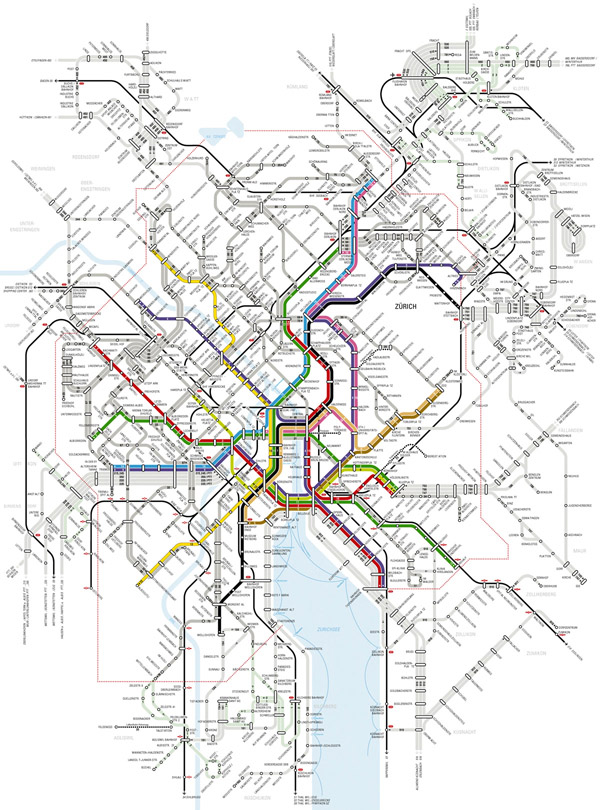 Large detailed metro map of Zurich city.