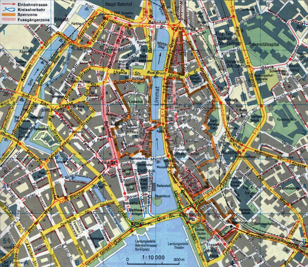 Large detailed road map of Zurich city center.
