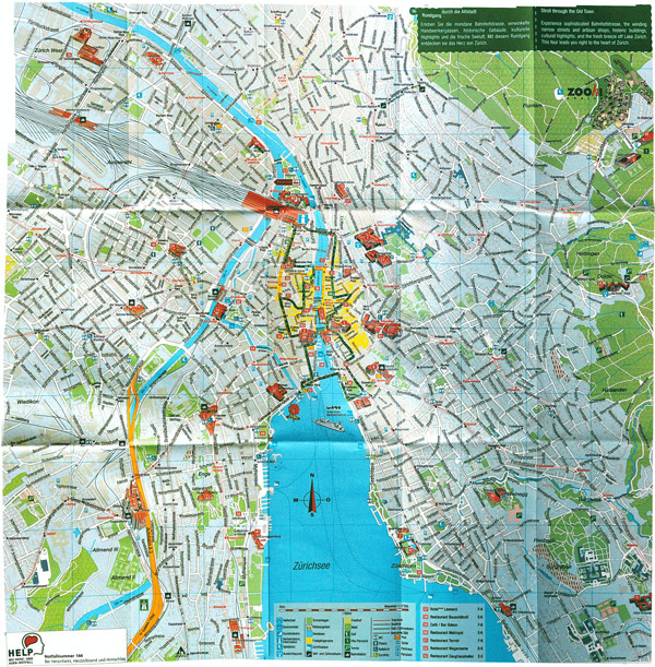 Large detailed tourist map of Zurich city.