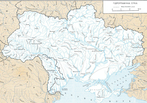 Detailed rivers map of Ukraine in Ukrainian.