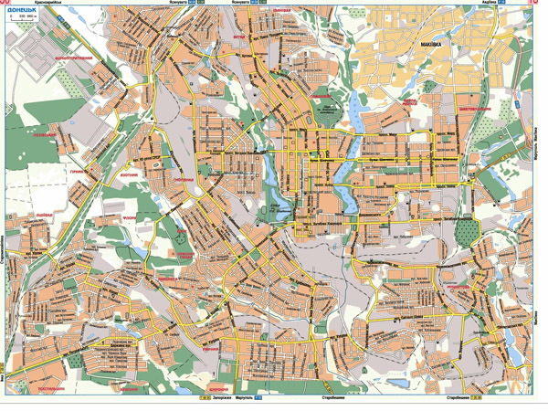 Large detailed road map of Donetsk city in Ukrainian.