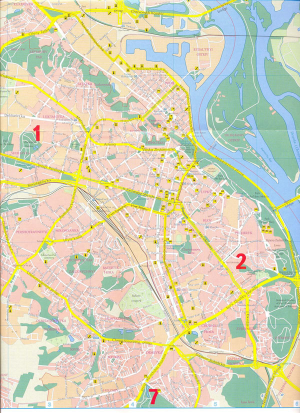 Large detailed street map of Kiev city center.