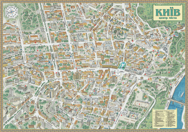 Large detailed tourist and panoramic map of Kiev city center.