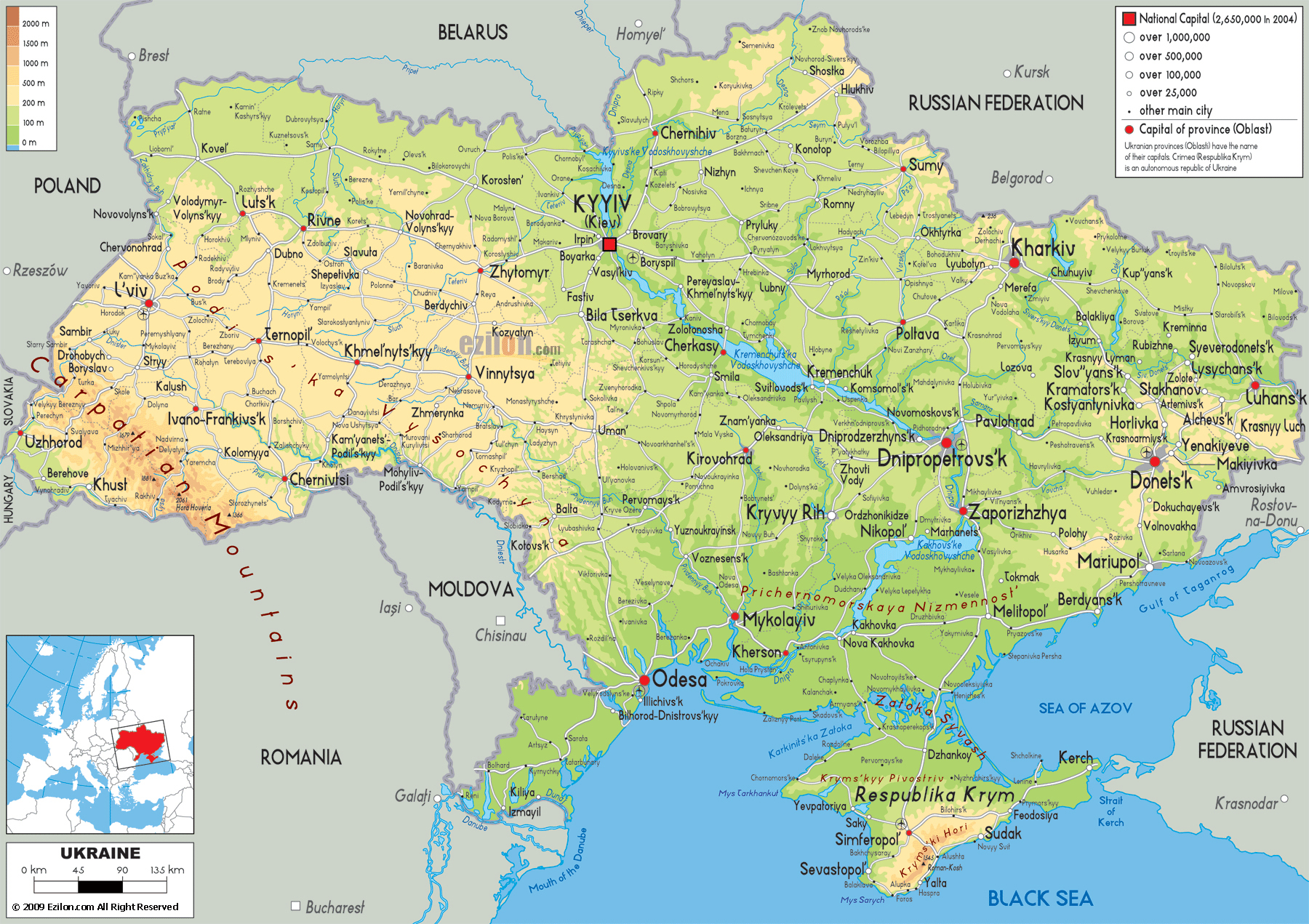 Large detailed physical map of Ukraine with all roads cities and