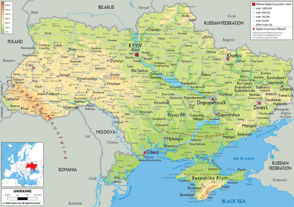 Large detailed physical map of Ukraine with all roads, cities and airports.