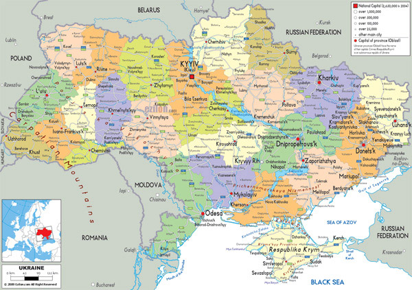 Large detailed political and administrative map of Ukraine with all roads, cities and airports.