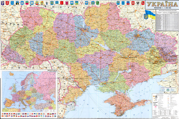 Large detailed political and administrative map of Ukraine with all roads, highways, cities, villages and airports in Ukrainian.