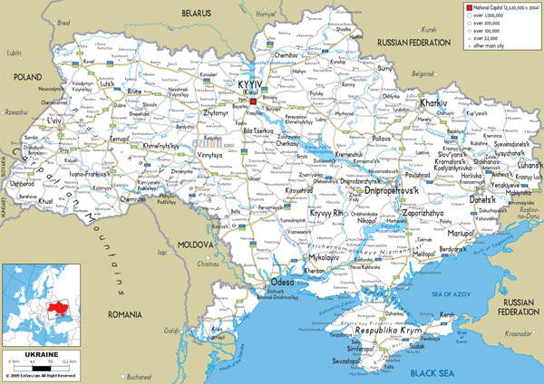 Large detailed road map of Ukraine with all cities and airports.