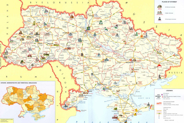 Large detailed tourist map of Ukraine. Ukraine large detailed tourist map.
