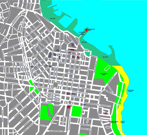 Large detailed hotels map of Odessa city center.