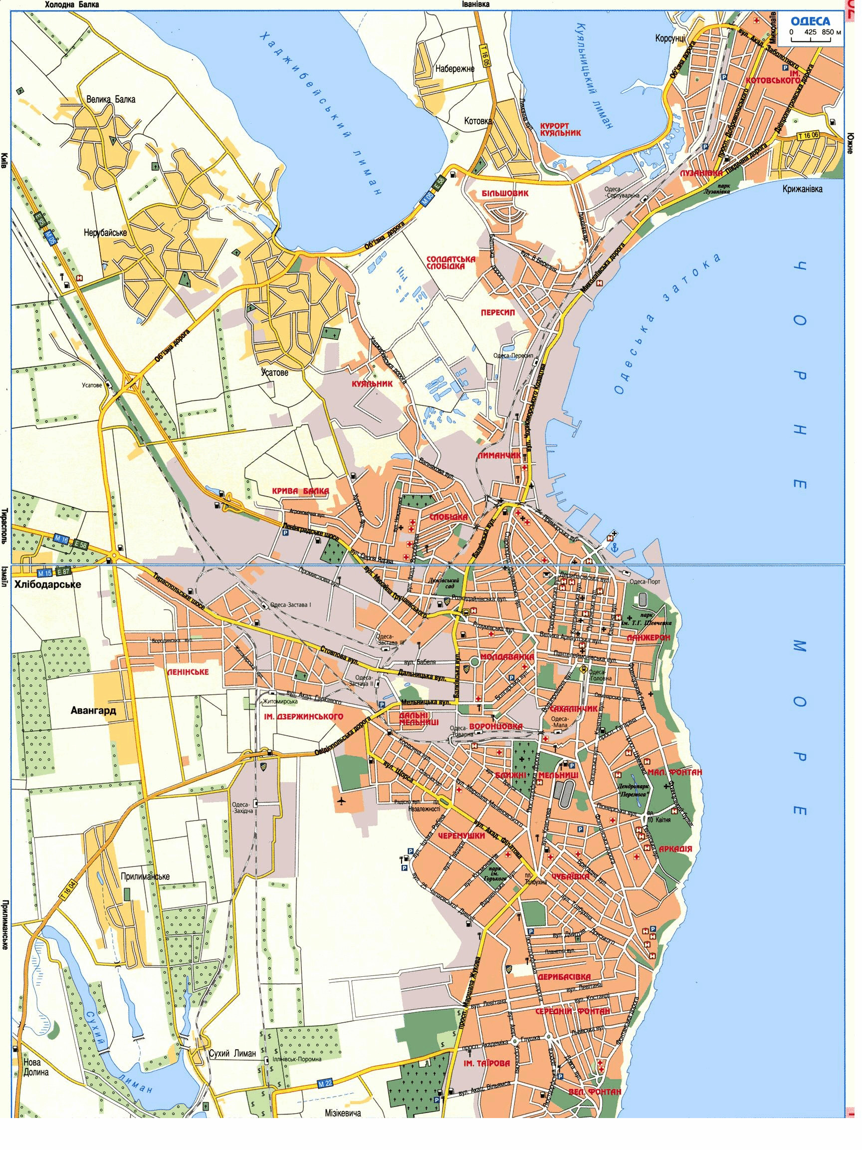Large detailed road map of Odessa city in Ukrainian Odessa city
