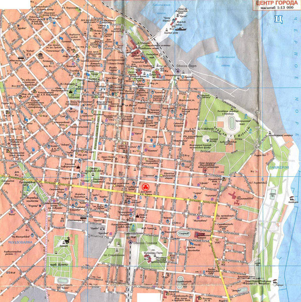 Large detailed street map of Odessa city center in Russian.