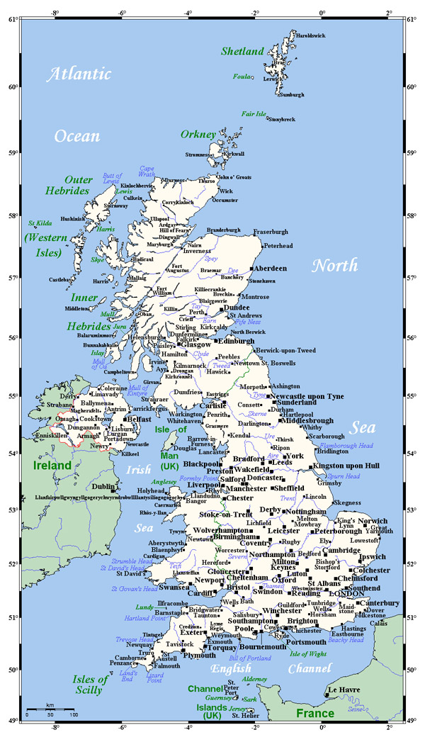 Detailed map of United Kingdom with cities. United Kingdom detailed map with cities.