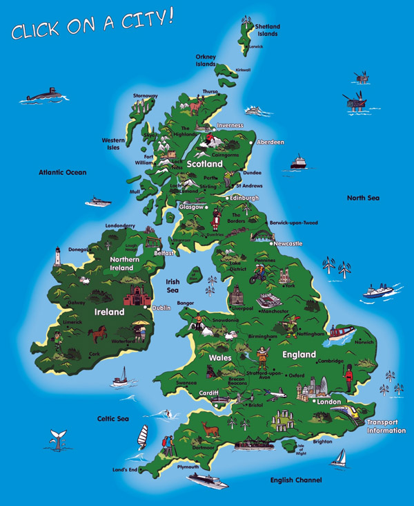 Detailed tourist map of United Kingdom. United Kingdom detailed tourist map.