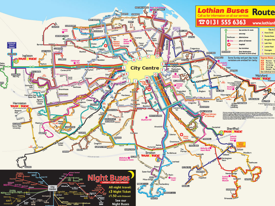 Detailed bus map of Edinburgh city Edinburgh cityd detailed bus map
