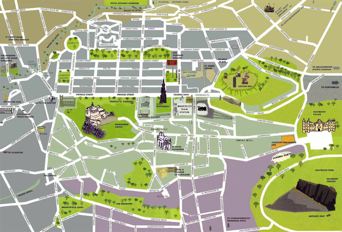 Detailed Tourist Map Of Edinburgh City Center Edinburgh
