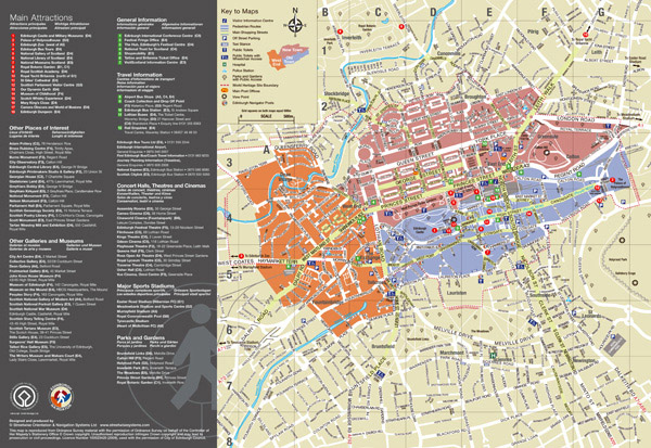 Large detailed tourist map of Edinburgh city.
