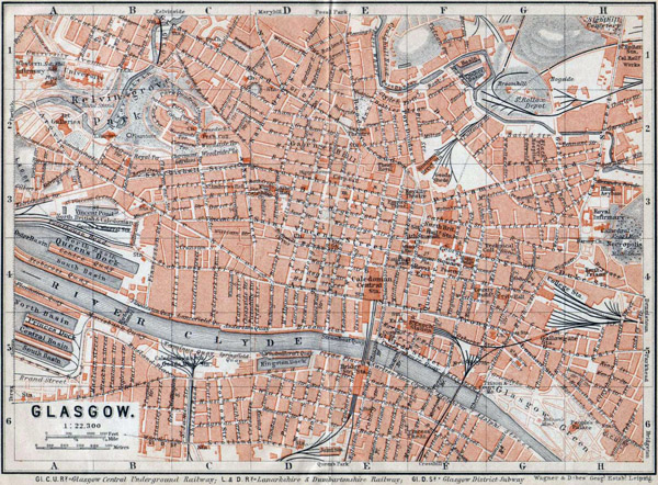 Detailed old map of Glasgow city 1910.