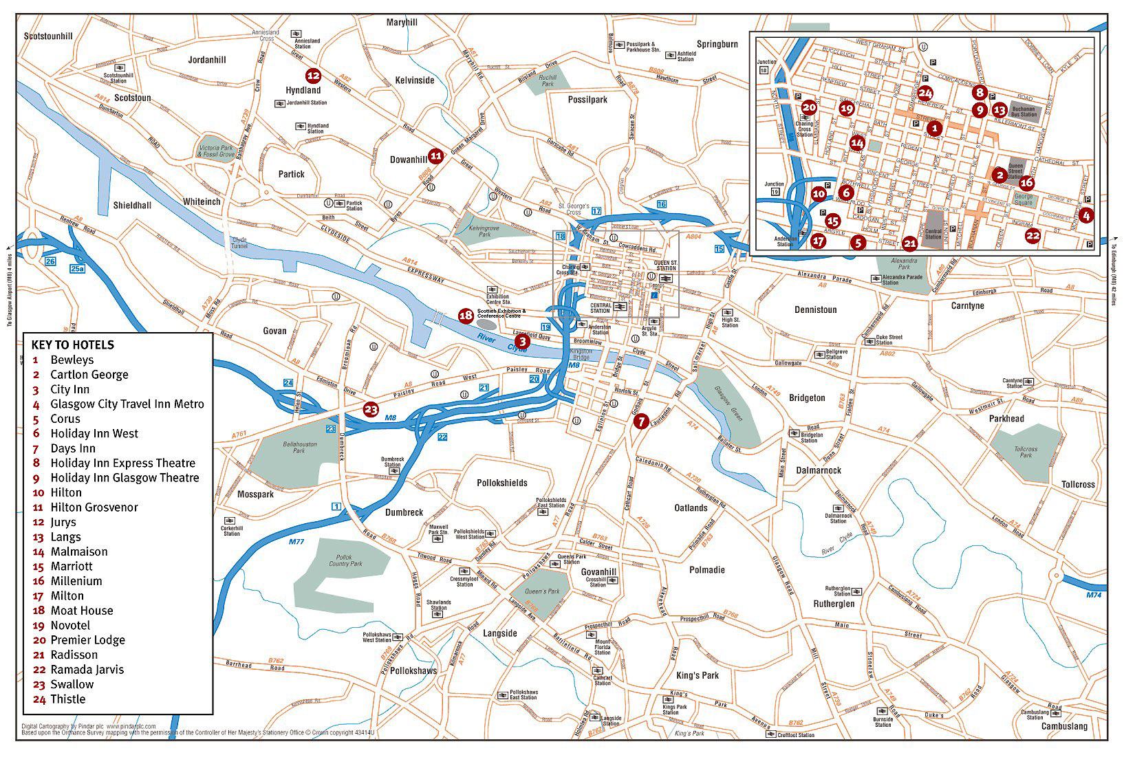 Large detailed map of Glasgow city Glasgow city large detailed map