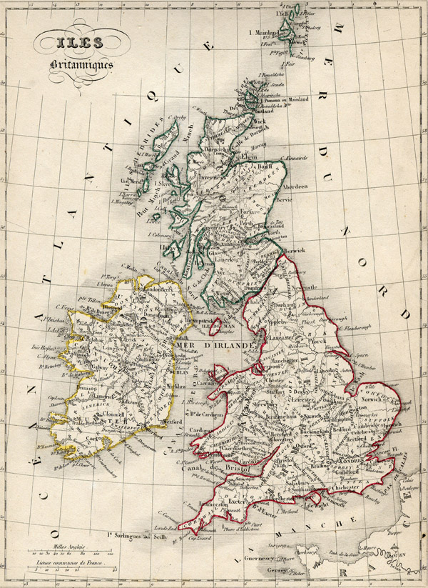 Large detailed old map of Great Britain since 1843.