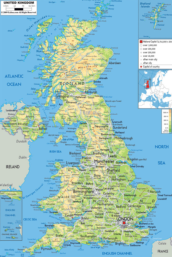 Large detailed physical map of United Kingdom with all roads, cities and airports.