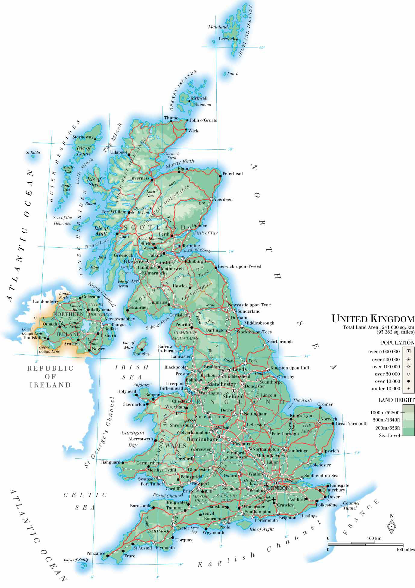 Largs United Kingdom  city photos gallery : Large detailed physical map of United Kingdom with roads, cities and ...
