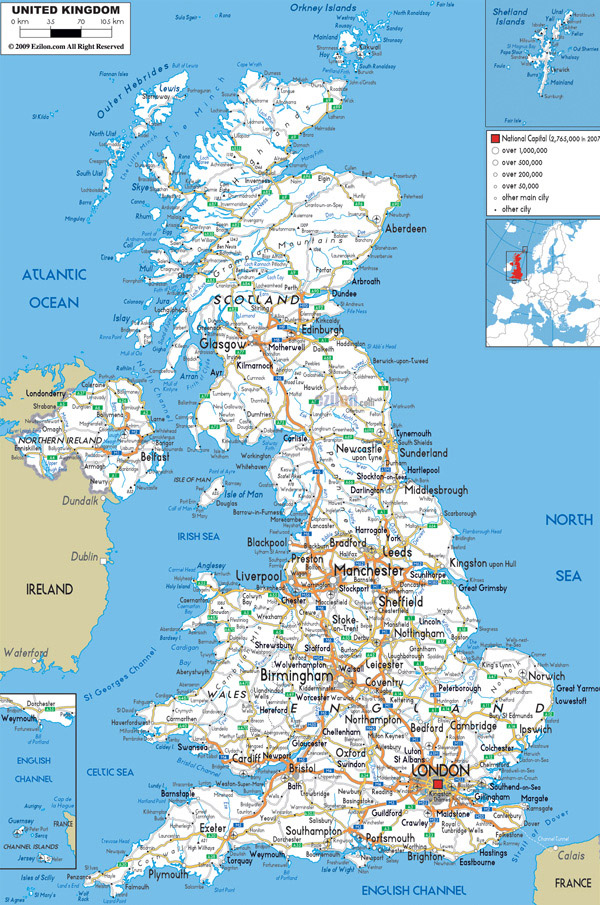 Large detailed road map of United Kingdom with all cities and airports.