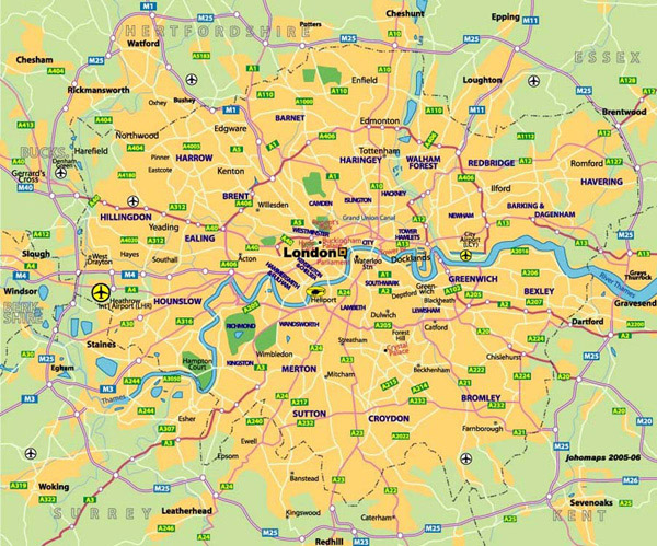 Detailed transit map of London city.