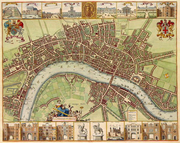 Large detailed 17th century map of London city.