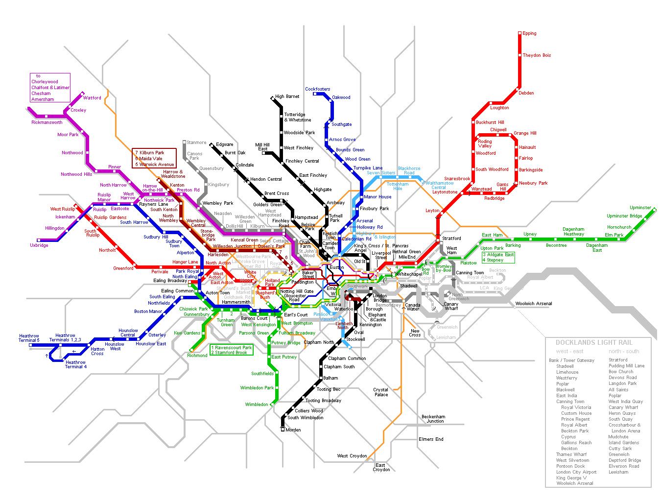 Large detailed London metro map London large detailed metro map
