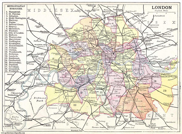 Large detailed old map of London city 1906.