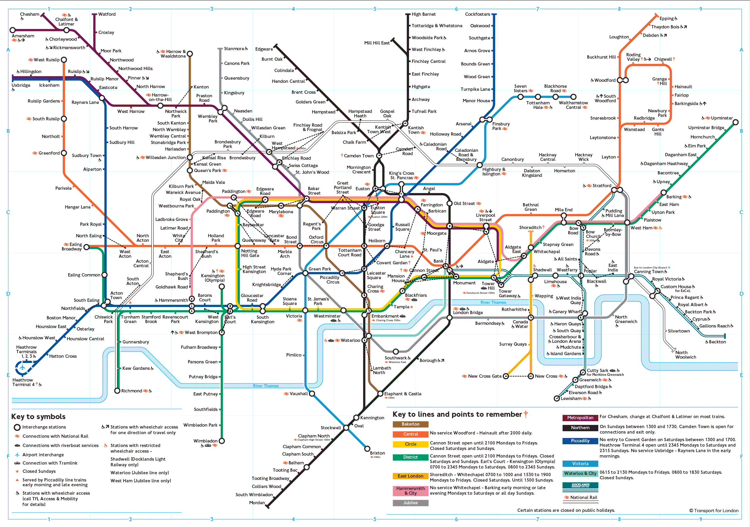 Large detailed subway map of London city London city large detailed