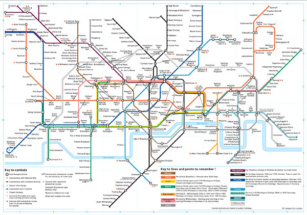Large detailed subway map of London city.