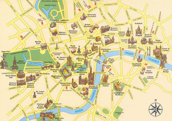 Large detailed tourist map of London city center.