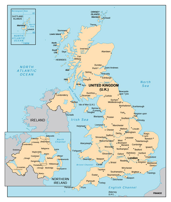 Map of United Kingdom (England) with cities.