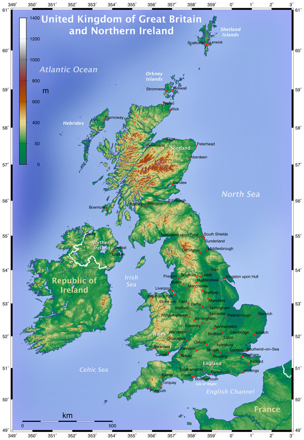 Physical map of Great Britain. Great Britain physical map.