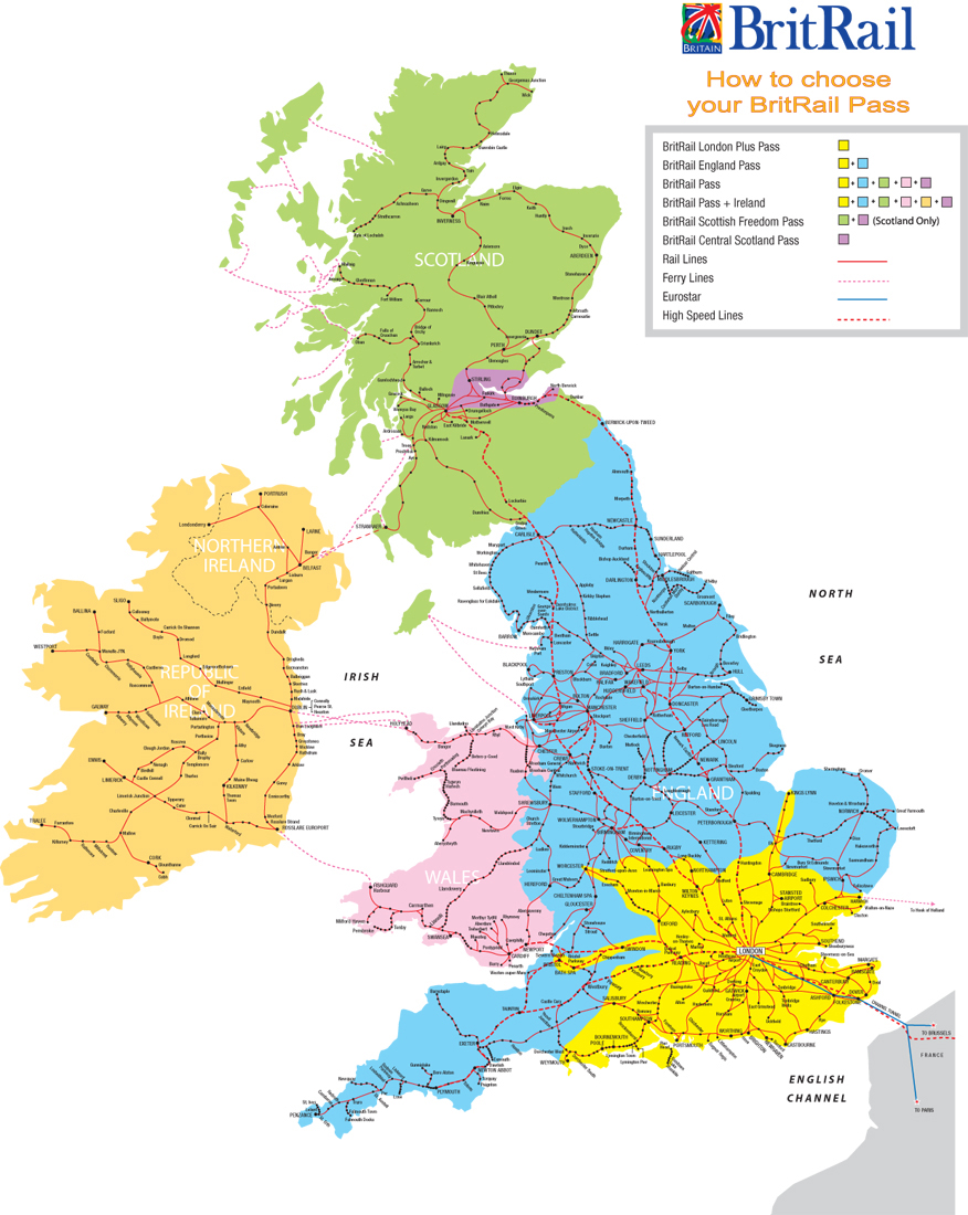Railroads map of Great Britain. Great Britain railroads map ...