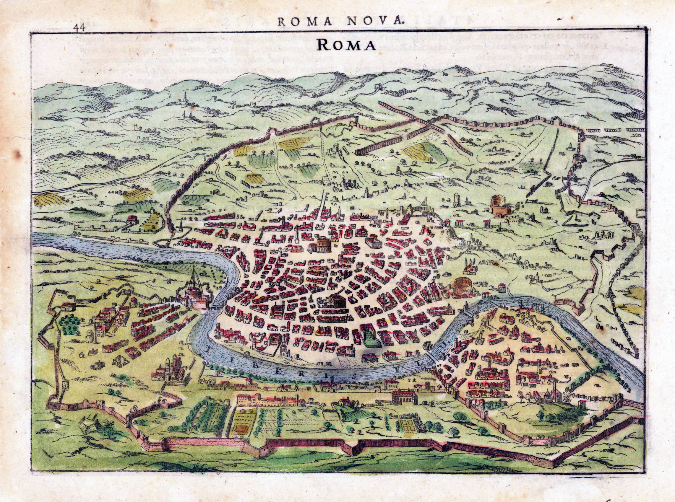 Detailed antique map of Rome city Rome city detailed antique map